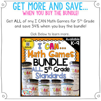 5th Grade Multiplication Game 5th Grade Math Centers {I CAN Math Games} FREE