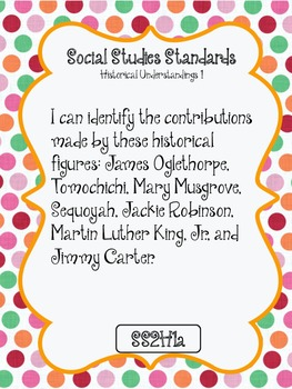 """""""I CAN"""" POSTERS 2ND GRADE SOCIAL STUDIES- GEORGIA PERFORMANCE STANDARDS"""