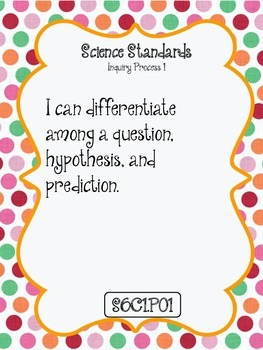 """""""I CAN"""" POSTERS 6TH GRADE SCIENCE- ARIZONA STANDARDS"""