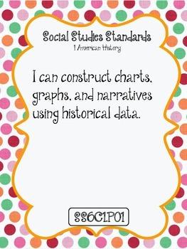 """I CAN"" POSTERS 6TH GRADE SOCIAL STUDIES - ARIZONA STANDARDS"