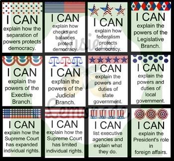 Civics, Government, US History I CAN Bundle