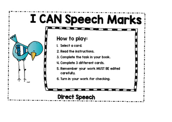 I CAN SPEECH MARKS - Daily 5 Work on Writing