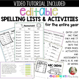 Editable spelling / vocabulary lists, practice, tests & as