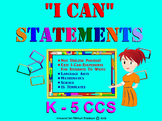 Students' I CAN STATEMENT Writing Templates: Language Arts, Math, Science. K-5.