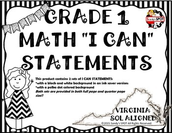 I CAN STATEMENTS 2009 VIRGINIA SOL MATH GRADE 1