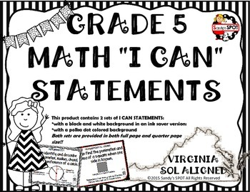 I CAN STATEMENTS VIRGINIA SOL MATH GRADE 5