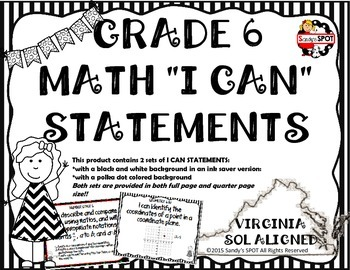 I CAN STATEMENTS 2009 VIRGINIA SOL MATH GRADE 6