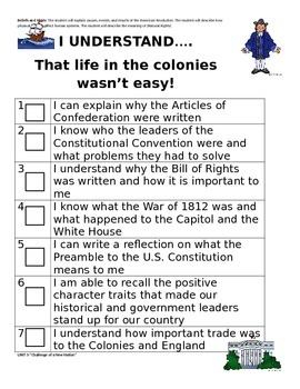 I CAN Social Studies Checklist-Units 2 through 8 for 4th Grade-Georgia