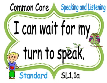 I CAN Speaking and Listening POSTERS First Grade FREE