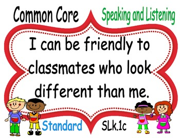 I CAN Speaking and Listening POSTERS Kindergarten