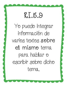 I CAN Statemements ( 5th grade / informational text / Spanish)