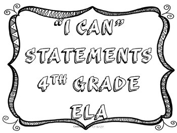 I CAN Statement 4th Grade ELA Black & White