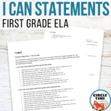I CAN Statements 1st Grade Common Core Standards for ELA