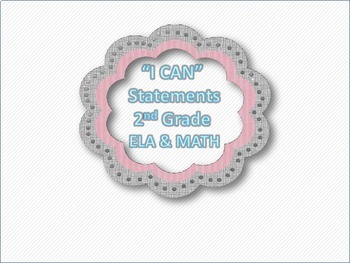 """""""I CAN"""" Statements 2nd Grade ELA/MATH COMBO PACK"""