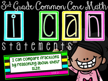I CAN Statements: 3rd Grade CCSS Math BLACK & BRIGHTS