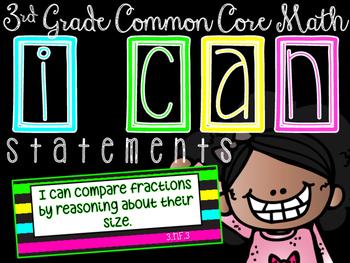 I CAN Statements: 3rd Grade CCSS Math BLACK & BRIGHTS