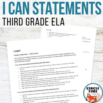 I CAN Statements 3rd Grade ELA Common Core Standards