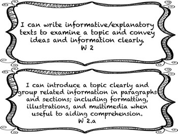 I CAN Statements 4th Grade ELA Black & White  *ALL ELA Standards