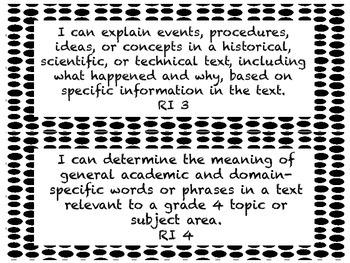 I CAN Statements 4th Grade ELA Black & White PolkaDot  *ALL ELA Standards