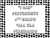 I CAN Statements 4th Grade ELA Black & White PolkaDot  *AL
