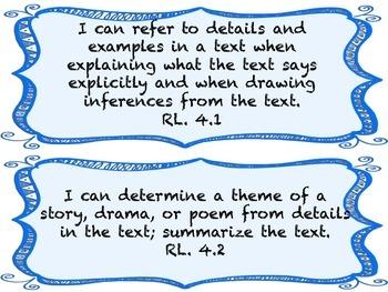 I CAN Statements 4th Grade ELA BlueFrame