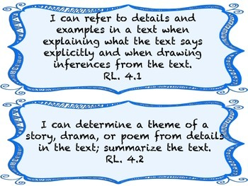 I CAN Statements 4th Grade ELA BlueFrame