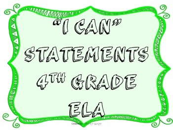 I CAN Statements 4th Grade ELA GreenFrame