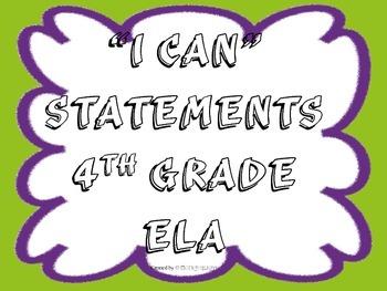 I CAN Statements 4th Grade ELA Green_Purple