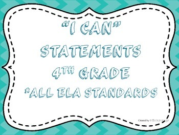 I CAN Statements 4th Grade ELA Turquoise   *ALL ELA Standards