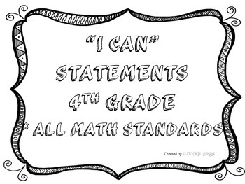 I CAN Statements 4th Grade Math Black & White  *ALL ELA Standards