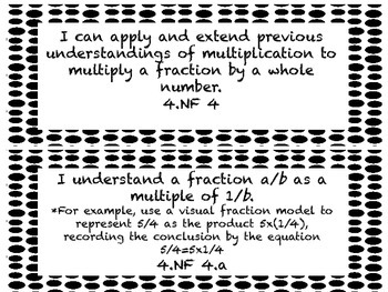 I CAN Statements 4th Grade Math Black & White Dots  *ALL ELA Standards