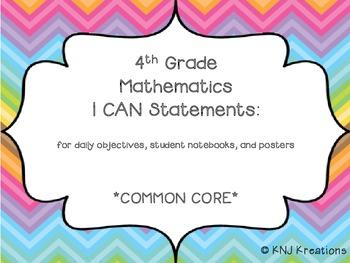 I CAN Statements: 4th grade math common core (ice cream color theme)