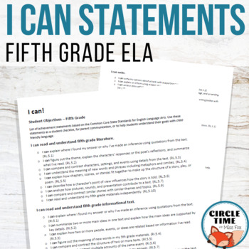 I CAN Statements 5th Grade ELA Common Core Standards
