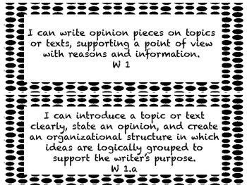I CAN Statements 5th Grade ELA Black & White PolkaDot  *ALL ELA Standards