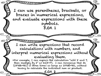 I CAN Statements 5th Grade Math Black & White  *ALL Math Standards