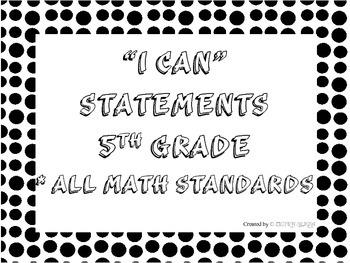 I CAN Statements 5th Grade Math Black & White PolkaDot  *A
