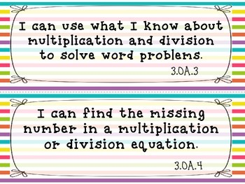"""I CAN"" Statements Common Core Math 3RD GRADE"