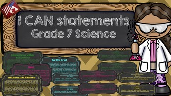 I CAN Statements Grade 7 Science (Chalkboard Theme)