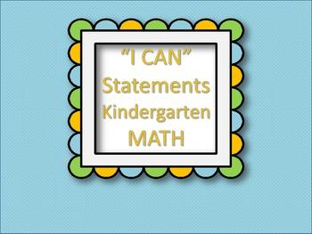 """I CAN"" Statements KINDERGARTEN - MATH"