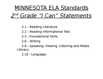 I CAN Statements - MN ELA 2nd Grade