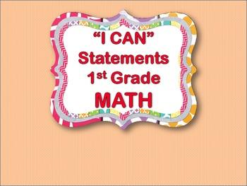 """I CAN"" Statements - Math 1st Grade"