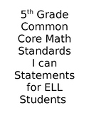 I CAN Statements for 5th Grade Math Standards Common Core ELL
