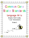 """""""I CAN"""" Statements for Common Core Standards Language Arts Gr. 2"""