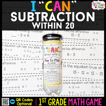 1st Grade Subtraction within 20 Game | 1st Grade Math Centers