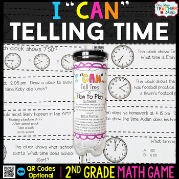 2nd Grade Telling Time to the Nearest 5 Minutes Game | 2nd Grade Math Centers