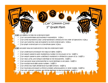"5th Grade Common Core Math ""I Can"" statements-sports theme"