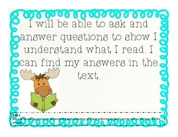I CAN posters~Reading 3rd Grade: Common Core Standards