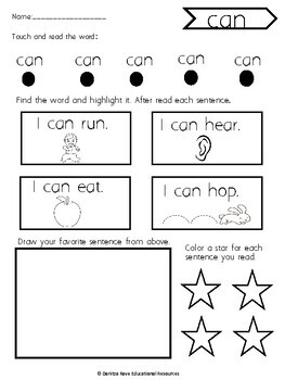 I CAN read! NO PREP sight word and reading comprehension lessons