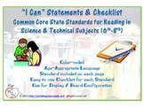 I CAN statements for CCSS- Reading in Science & Technical Subjects (6th-8th)