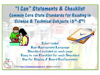 I CAN statements for CCSS- Reading in Science & Technical